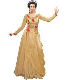 Blissta Beige Net Anarkali Gown Semi-Stitched Suit