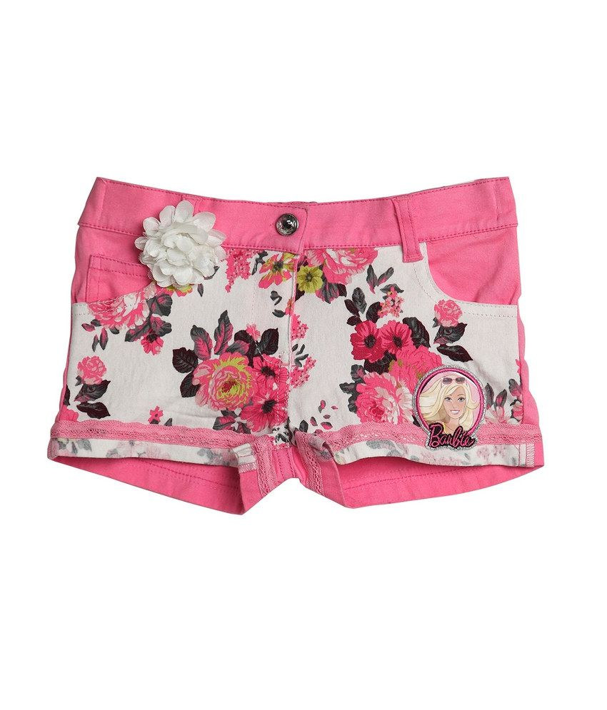 Barbie  Pink Color Printed Shorts For Kids