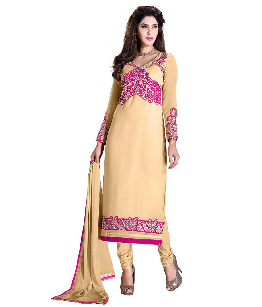 Khoobee Beige Embroidered Georgette Regular FusionDress Material
