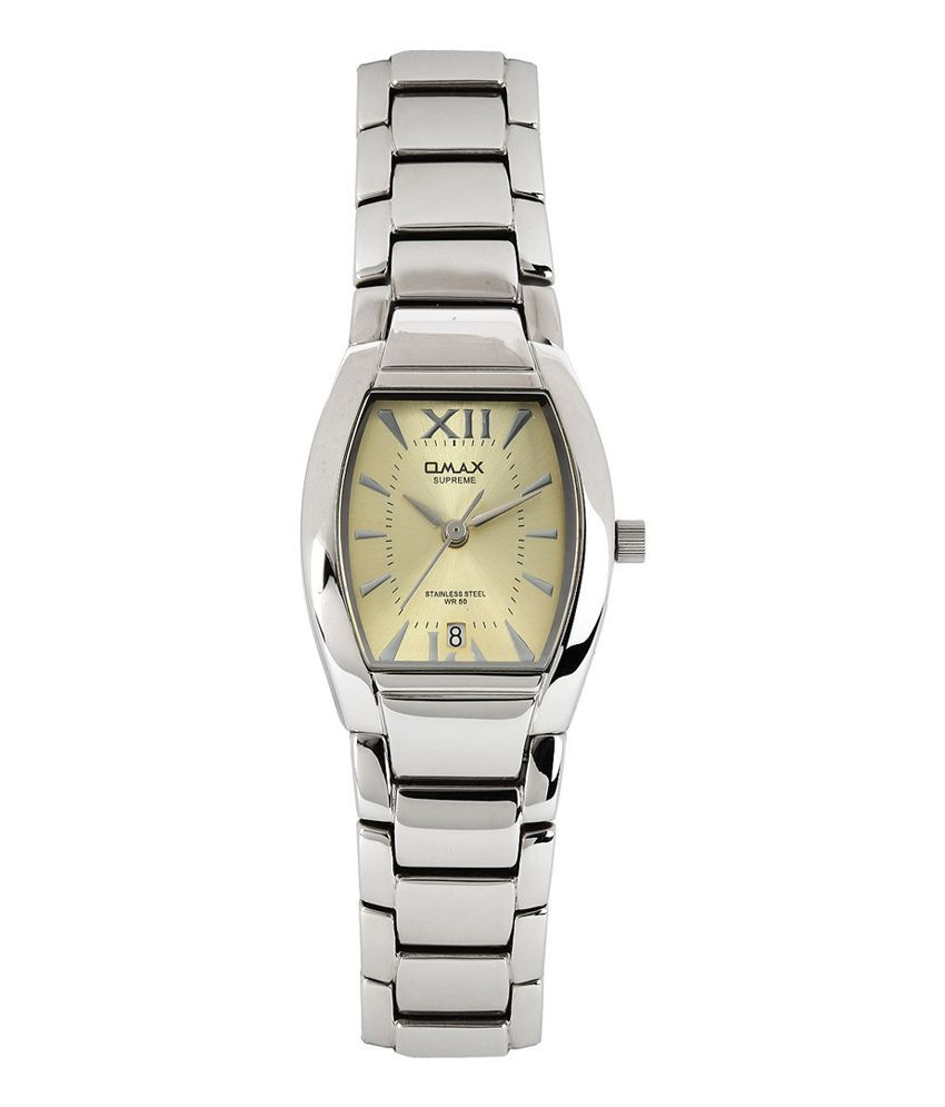 omax gold stainless steel casual wear tonneau watch for