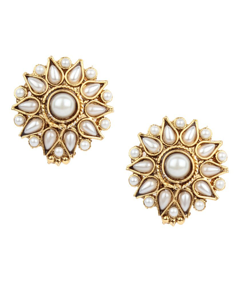 Dancing Girl White Alloy Stud Earrings
