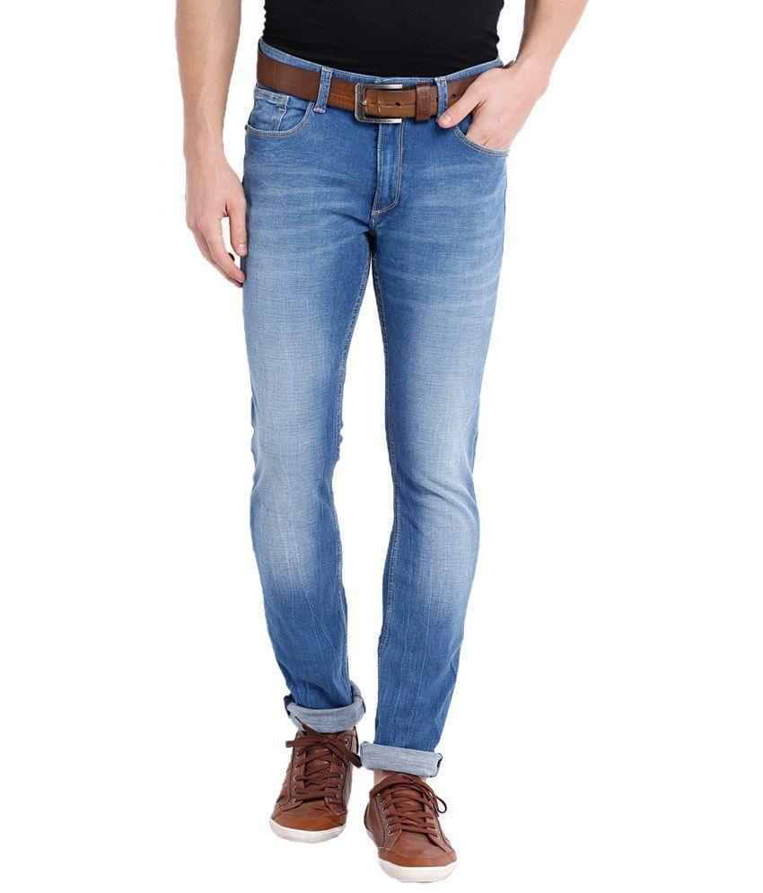 Locomotive Blue Cotton Blend Jeans For Men