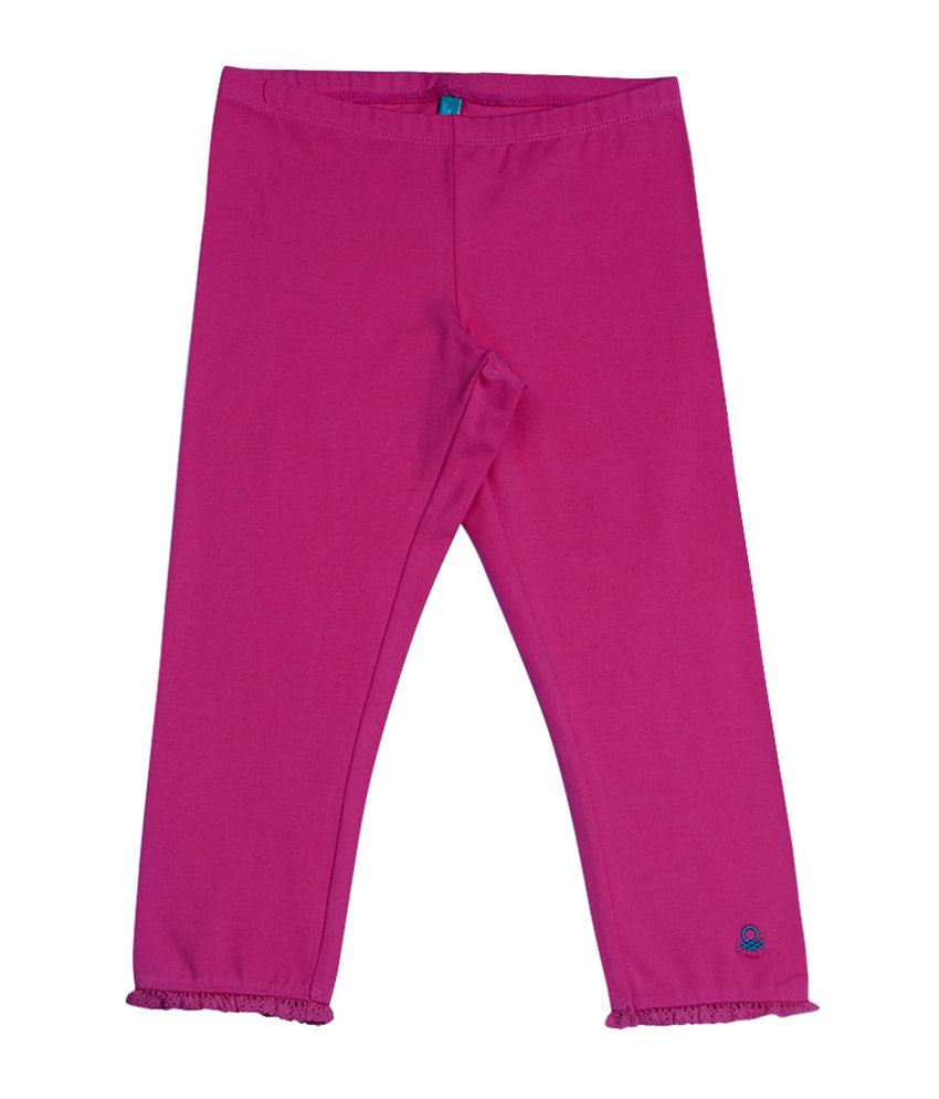United Colors of Benetton Solid Hot Pink Casual Solid Capri