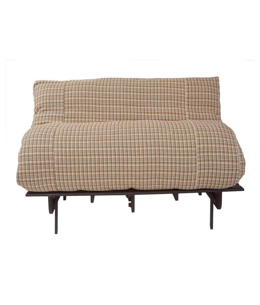 Arra Double Futon Sofa Cum Bed With Mattress Brown Check