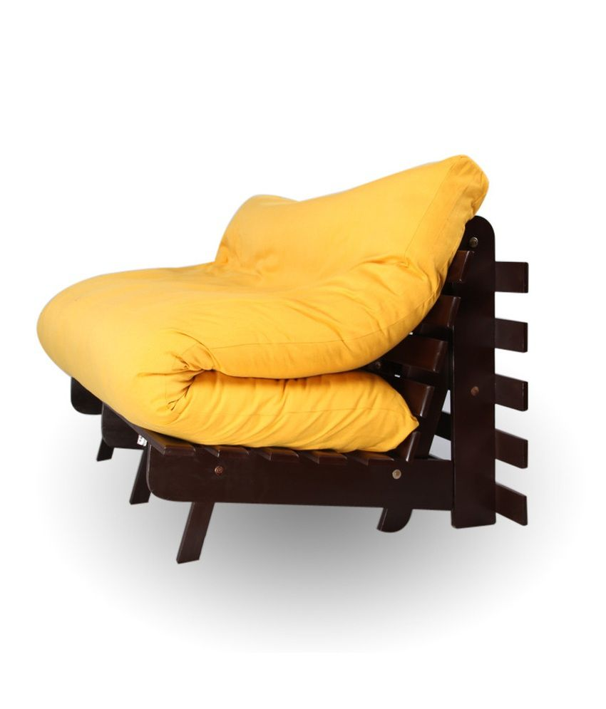 Futon Sofa Cum Bed with Mattress - Yellow - Buy ARRA Double Futon Sofa ...