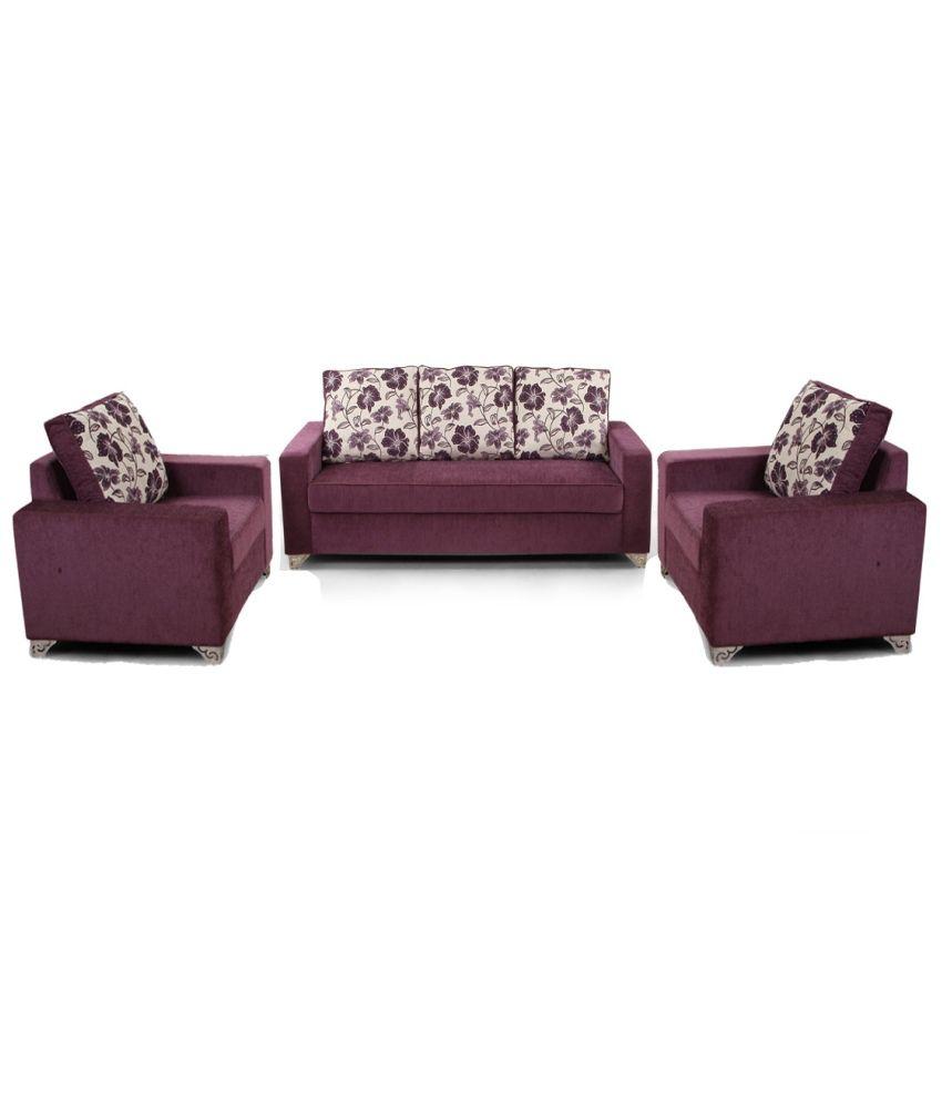 ARRA Lexus Sofa Set Purple 3+1+1