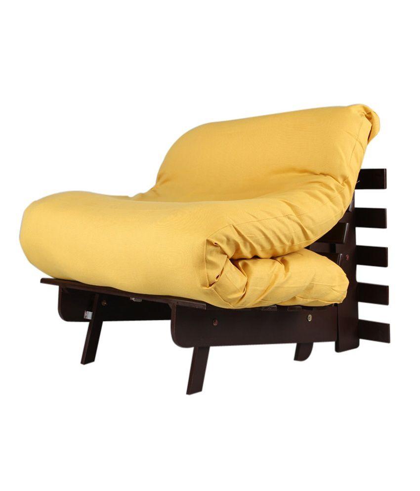 ARRA Single Futon Sofa Cum Bed With Mattress - Yellow