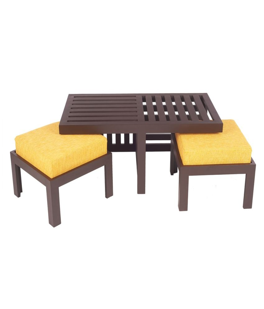 Arra Trendy Coffee Table With Two Stools Yellow Buy Arra Trendy Coffee Table With Two Stools