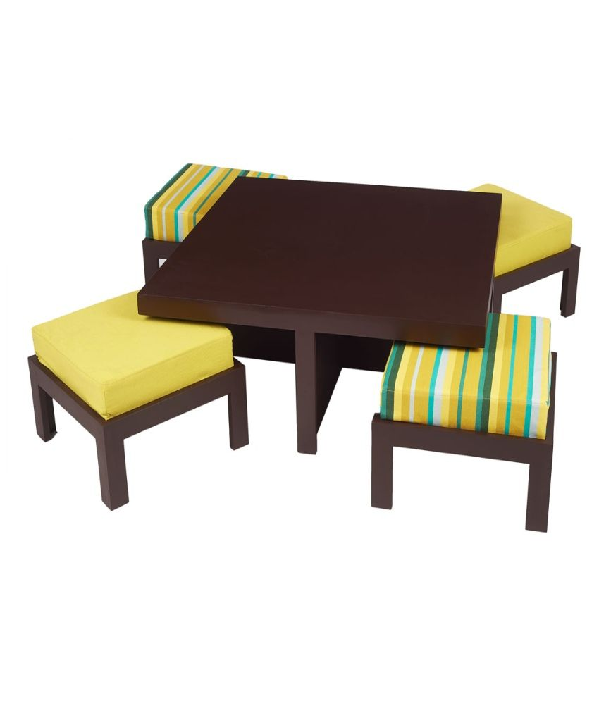 ARRA Trendy Coffee Table With Four Stools - Green Delite