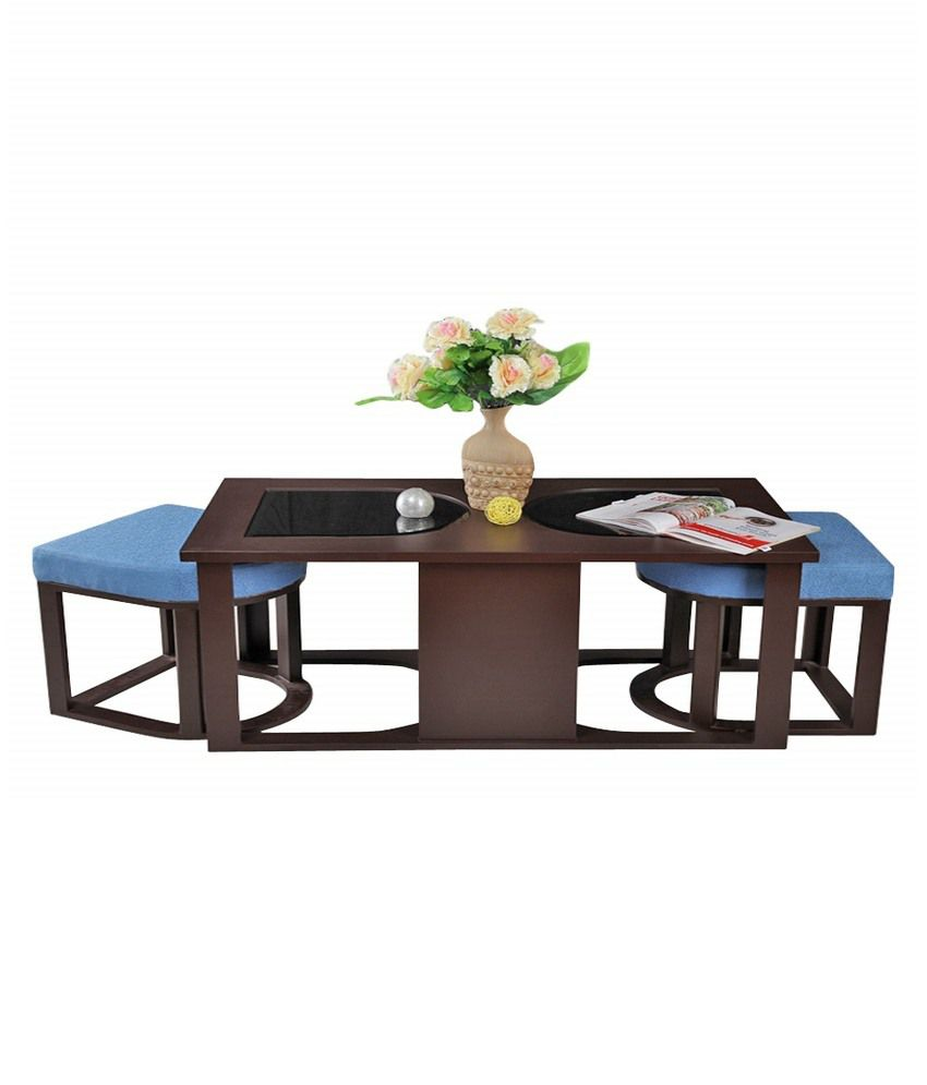 Arraattractive Coffee Table With 2 Cushioned Stools Blue Buy Arraattractive Coffee Table
