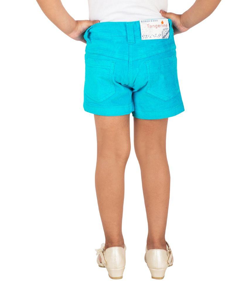 Tangerine Corduroy Blue Color Shorts