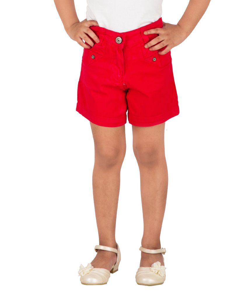 Tangerine Red Cotton Shorts