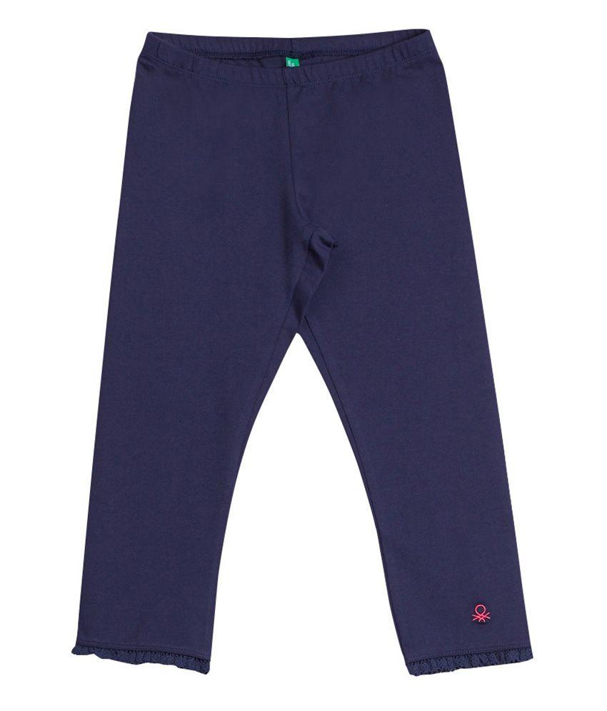 United Colors of Benetton Solid Dark Slate Blue Casual Solid Capri