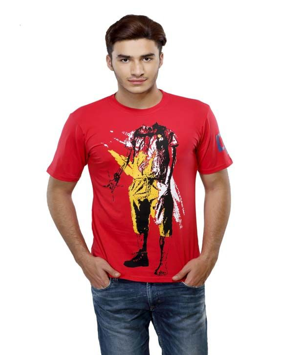Delhi Daredevils Red Printed Cotton Round Neck T-shirt