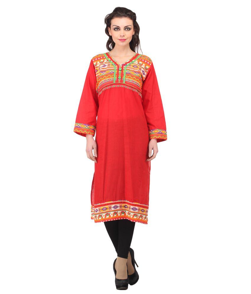 Enakshi Cotton Printed Round Neck Kurti-Red