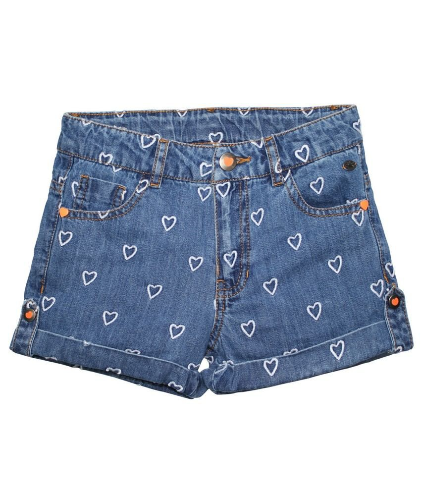 FS Miniklub Summer Sentiments Girls Embroidered Denim Shorts