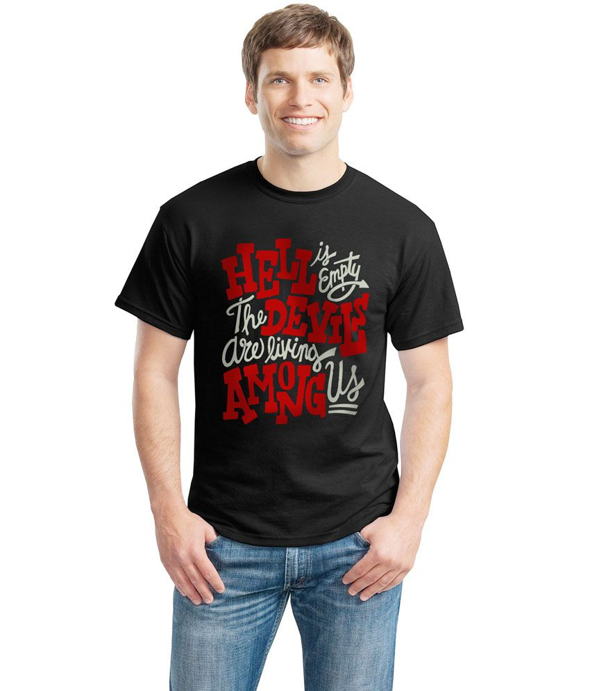 Inkvink Clothing Black Cotton Round Neck Printed Half Sleeves T-Shirt
