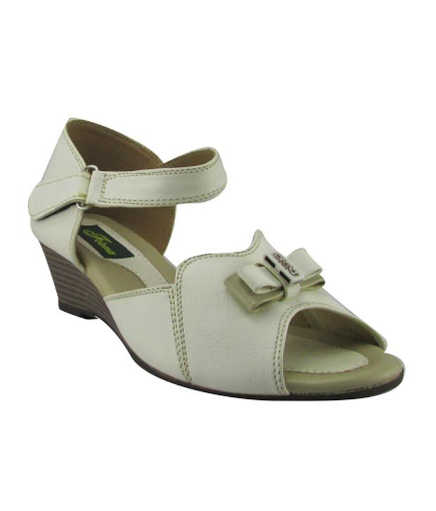 Pearl Gray Faux Leather Wedges Sandal