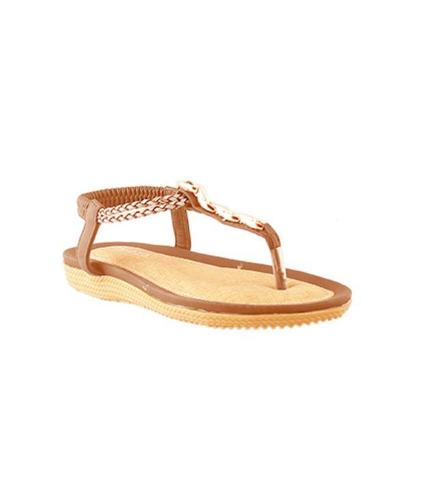 HM Tan Ankle Strap Round Toe Sandal