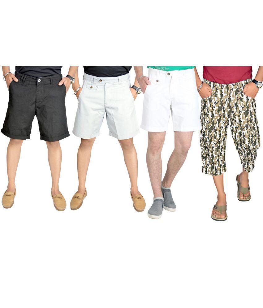 Sparrow Clothings Multicolour Cotton Checks Mens Cargo Shorts