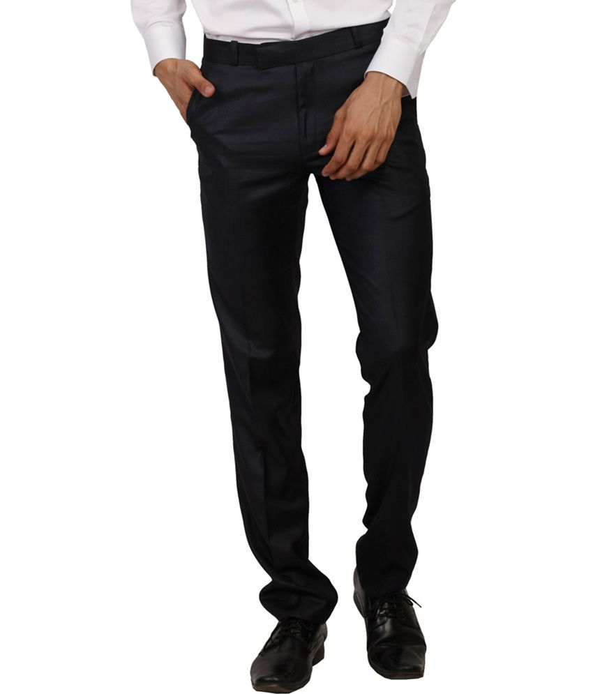 Change360 Black Poly Viscose Slim Fit Premium Formal Trouser