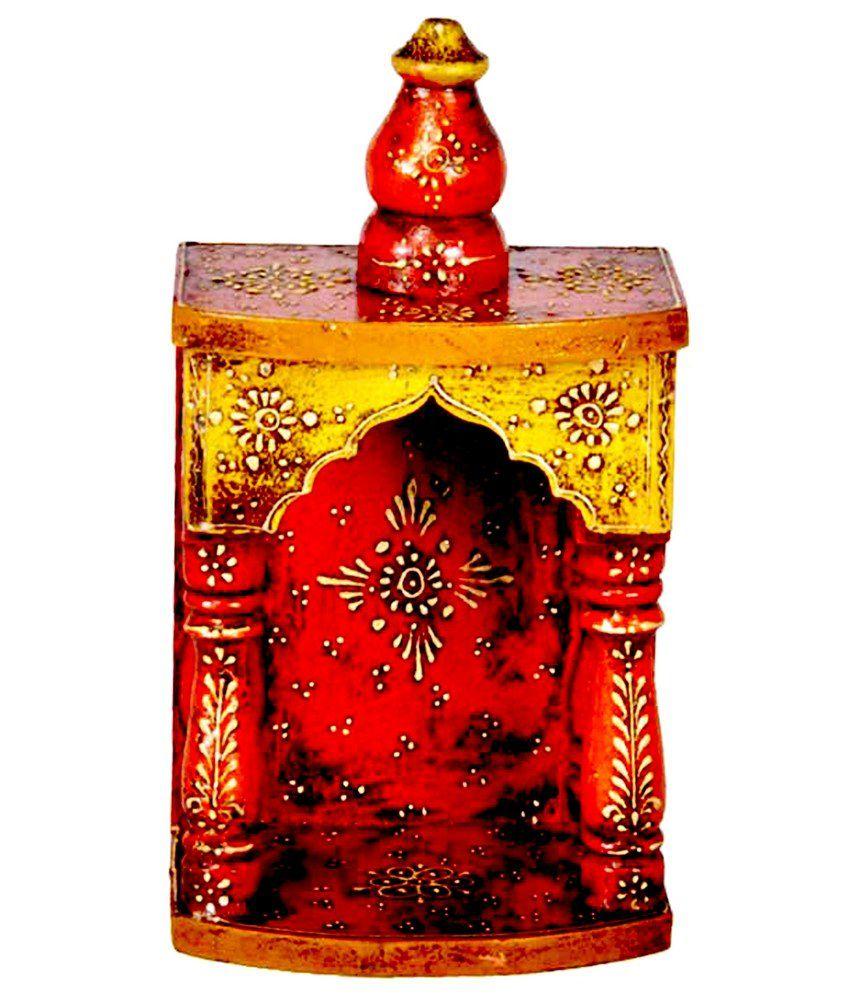 Homeandbazaar Rajasthani Ethnic Handpainted Mini Wooden Temple