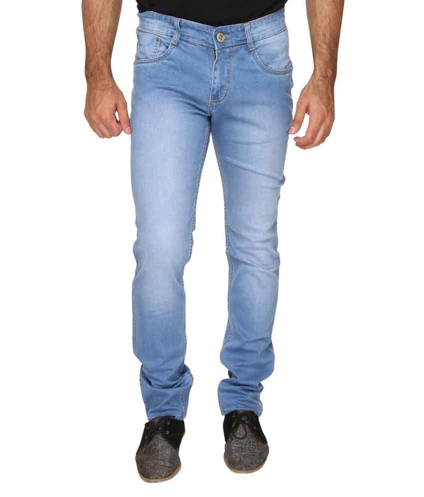 Osia Plus Blue Cotton Blend Mid Rise Faded Men's Jeans