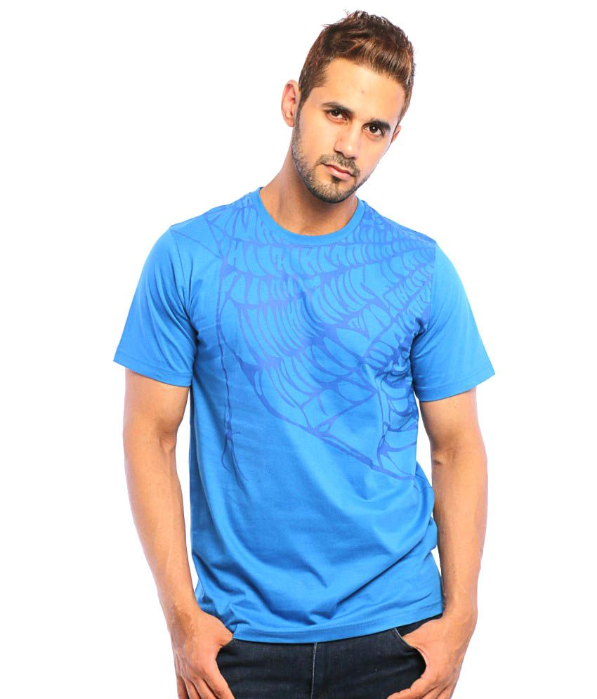 Spider Clothing Blue Cotton Round Neck T Shirt For Men