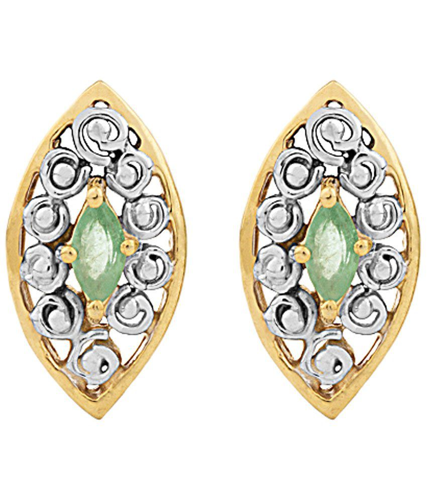 Voylla 14 Kt Gold Marquise Emerald Stud Earrings