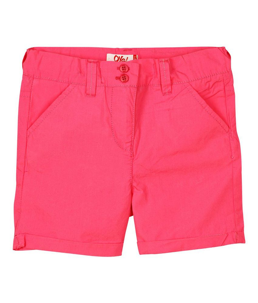 Oye Pink Cotton Solids Shorts