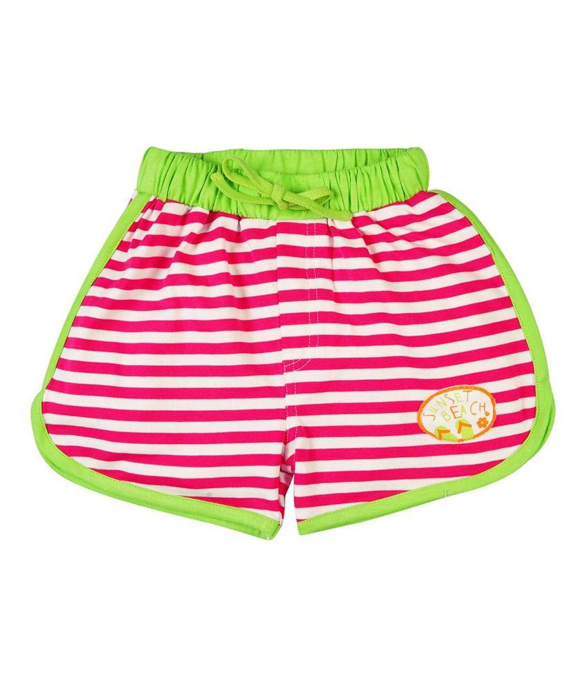 Oye Pink Cotton Striped Shorts