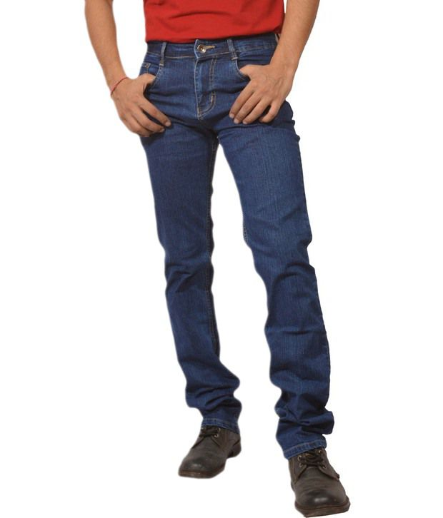 4abit Blue Cotton Blend Regular Jeans