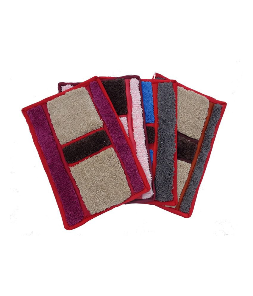 Fab Home Multicolour Cotton Floor Mats Set Of 4 Buy Fab Home Multicolour Cotton Floor Mats