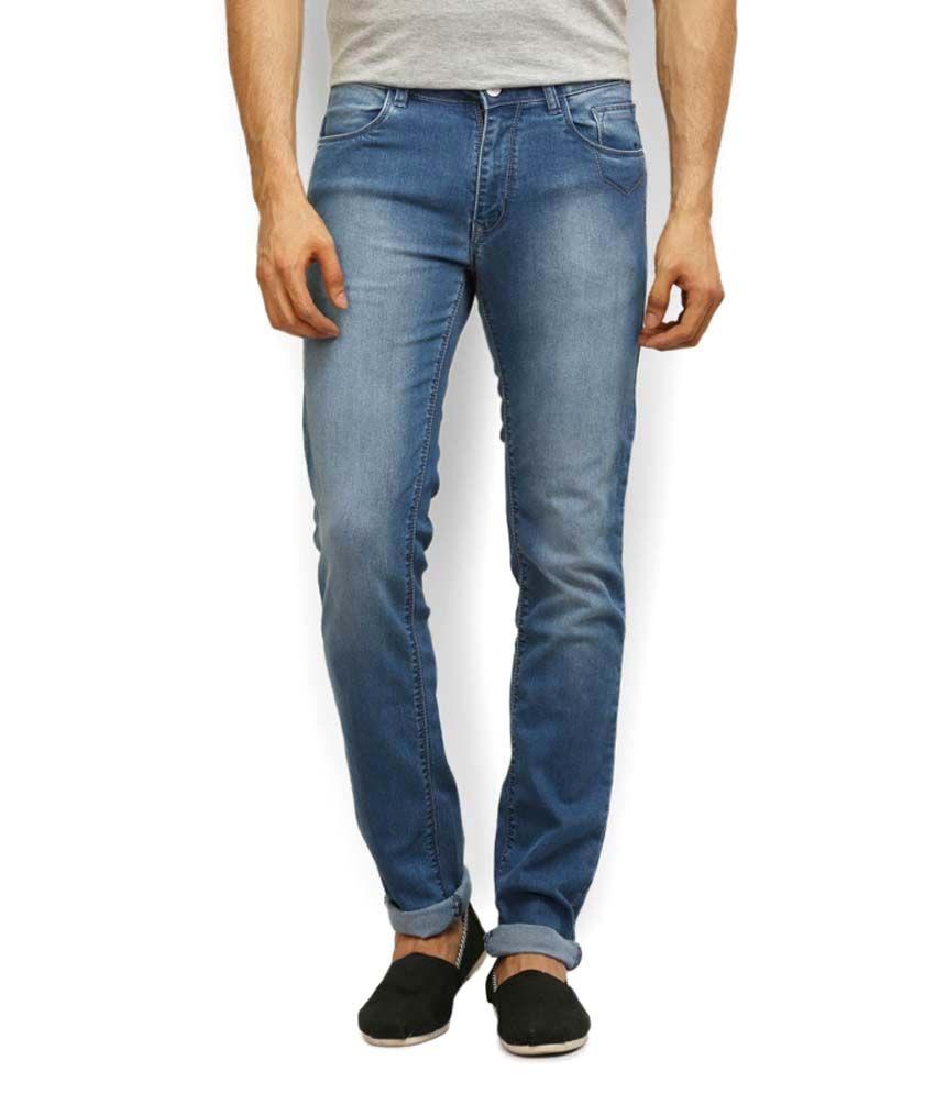 Police Blue Cotton Slim Fit Jeans