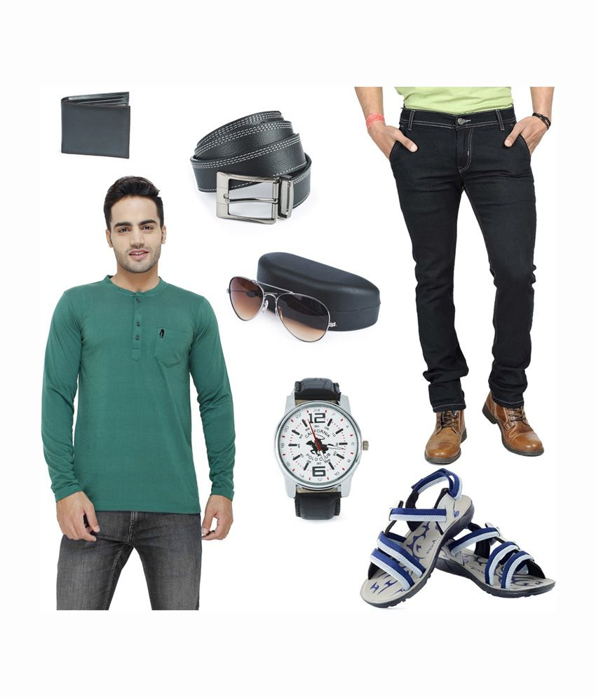 Eprilla Men's Combo of T-shirt, Jeans, Sandals, Wallet, Belt, Sunglasses & Watch