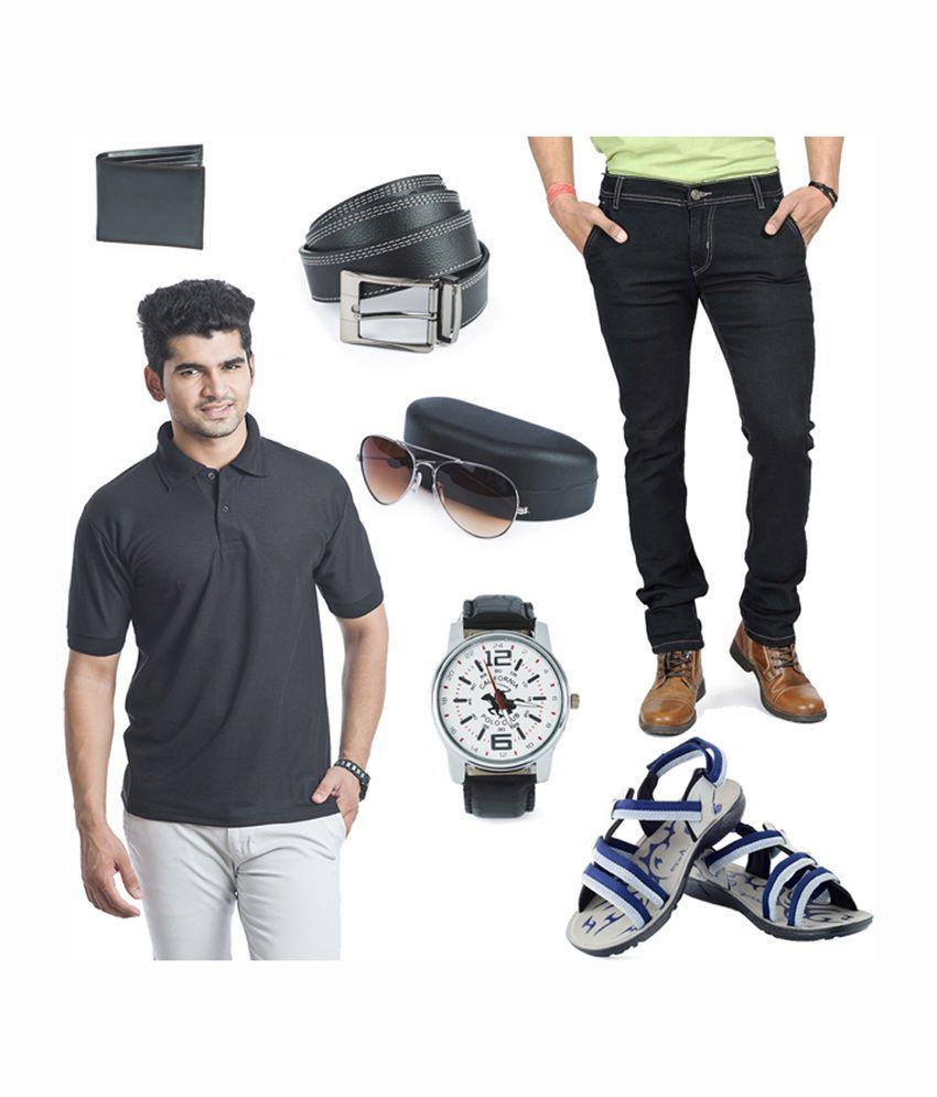 Eprilla Men's Combo of T-shirt, Jeans, Sandals, Wallet, Belt, Sunglasses & Watch
