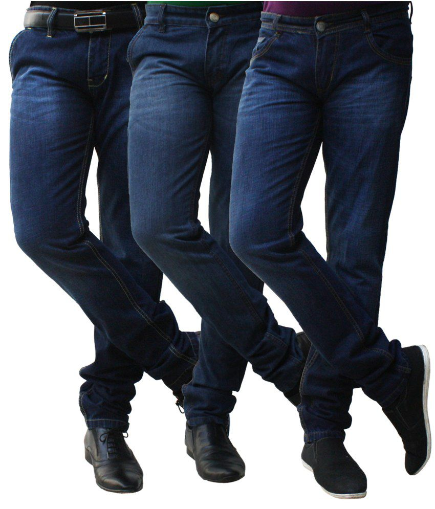 Club Vintage Blue Cotton Faded Jeans Pack Of 3