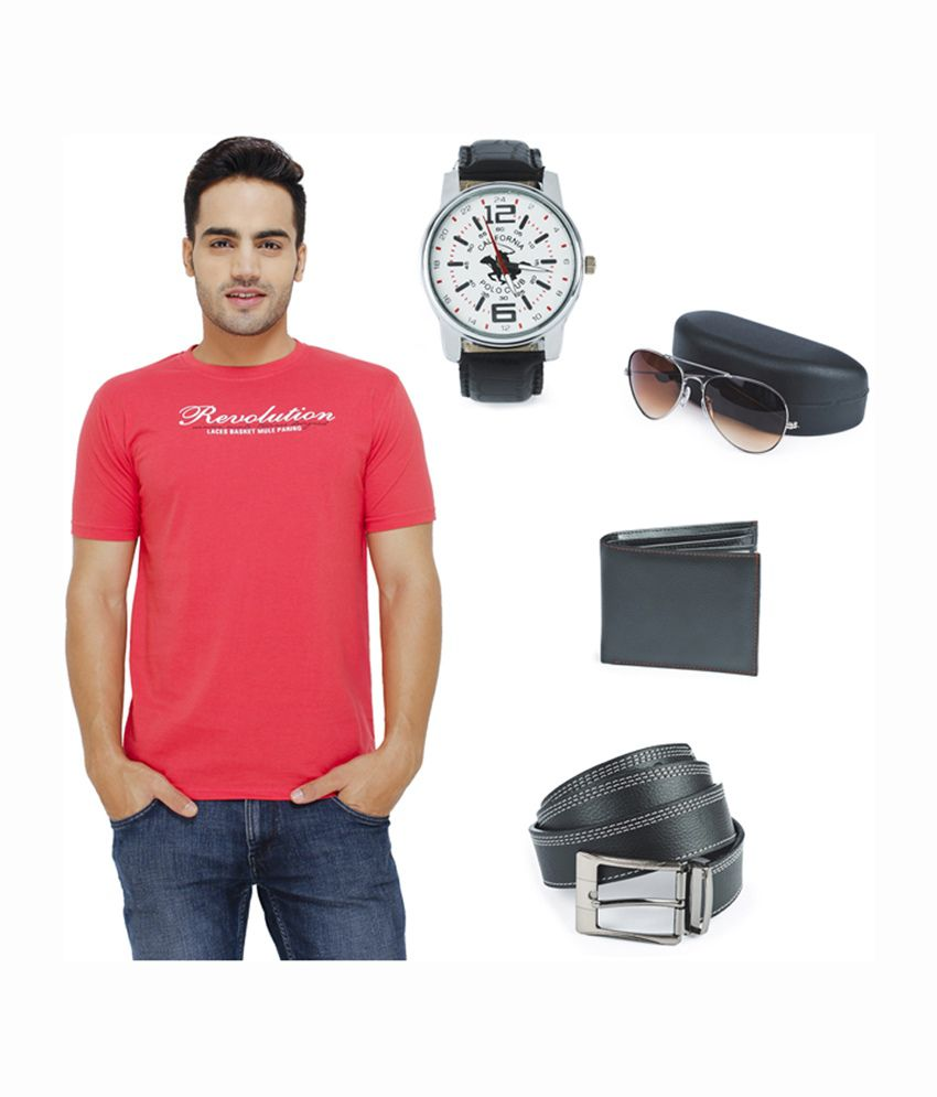 Eprilla Printed Round Neck T-Shirt with Wallet, Belt, Sunglasses & Watch (Pack of 5)