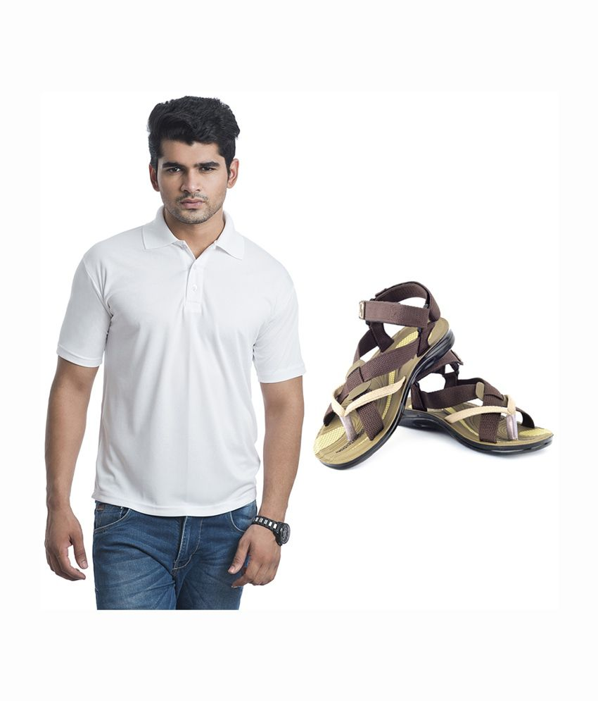 Eprilla White Cotton T-Shirt with Sandals (Pack of 2)