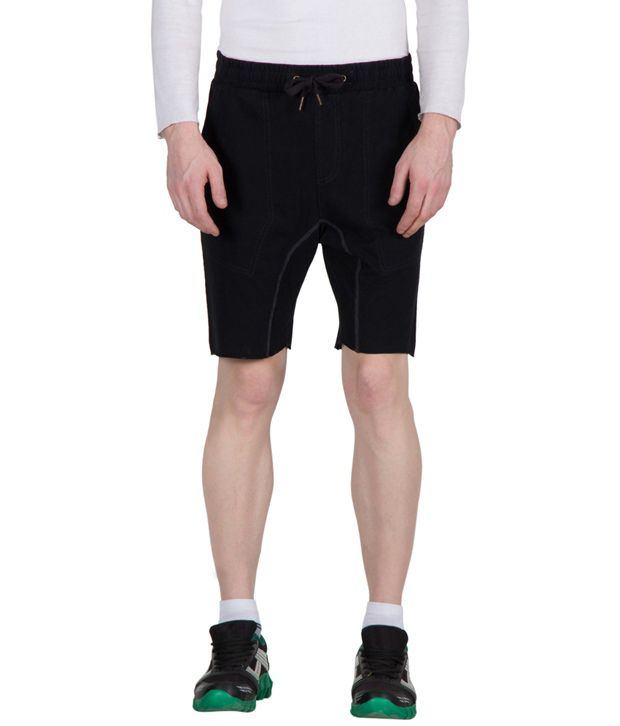Hypernation black color drop crotch with contrast thread cotton shorts for men