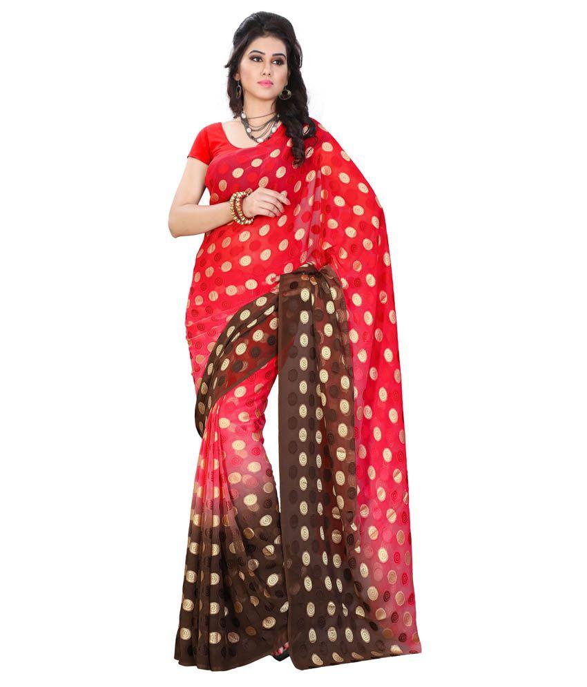 Diva Fashion Red Brasso Saree