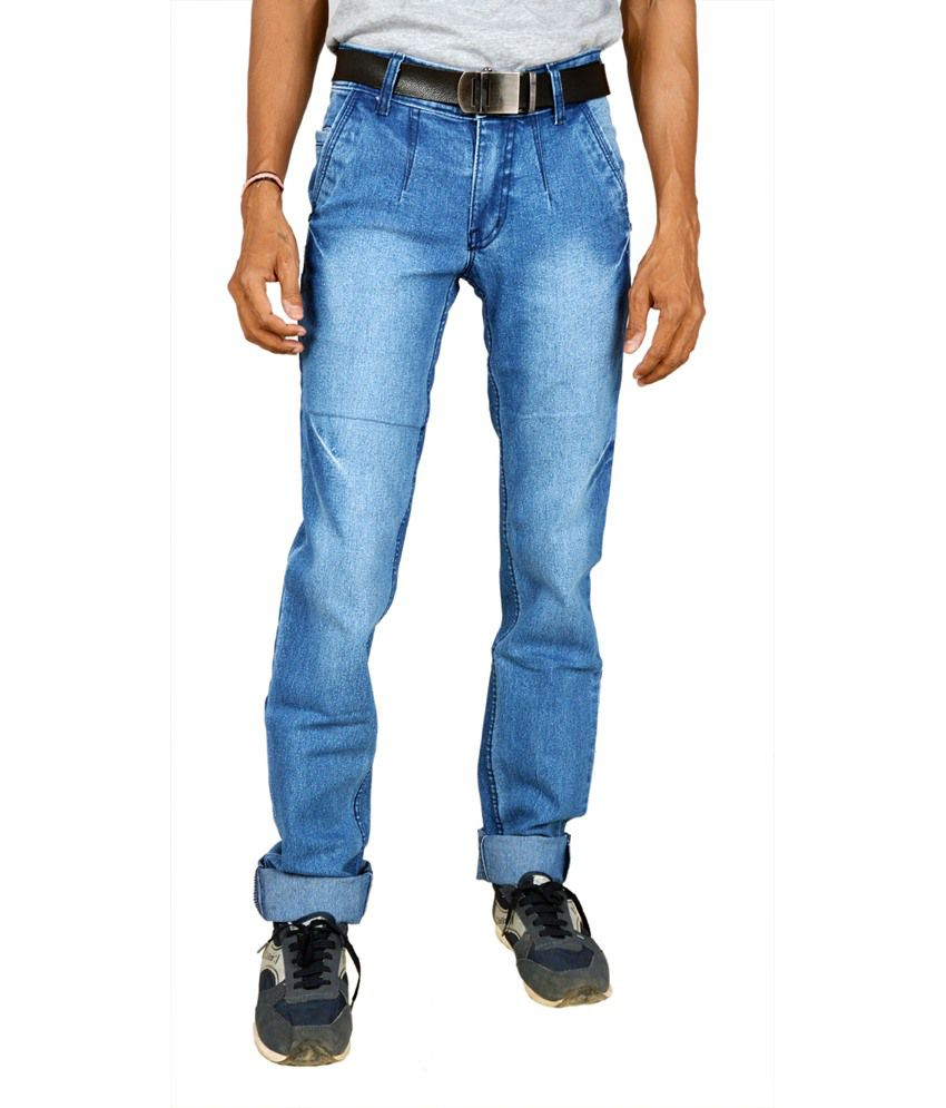 Ganesh Textile Blue Cotton Blend Slim Jeans