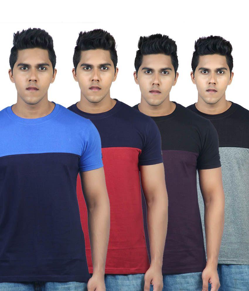 Krook Color Block  T Shirt Pack Of 4