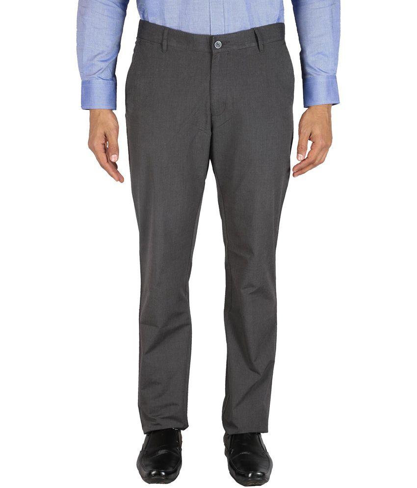 Le Tailor Dark Grey Cotton Slim Fit Trouser