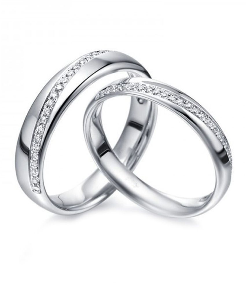 RM Jewellers 92.5 Sterling Pure Silver Best American Diamond Love Couple band