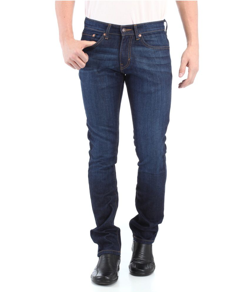 Red Tape Blue Cotton Regular Jeans For Men