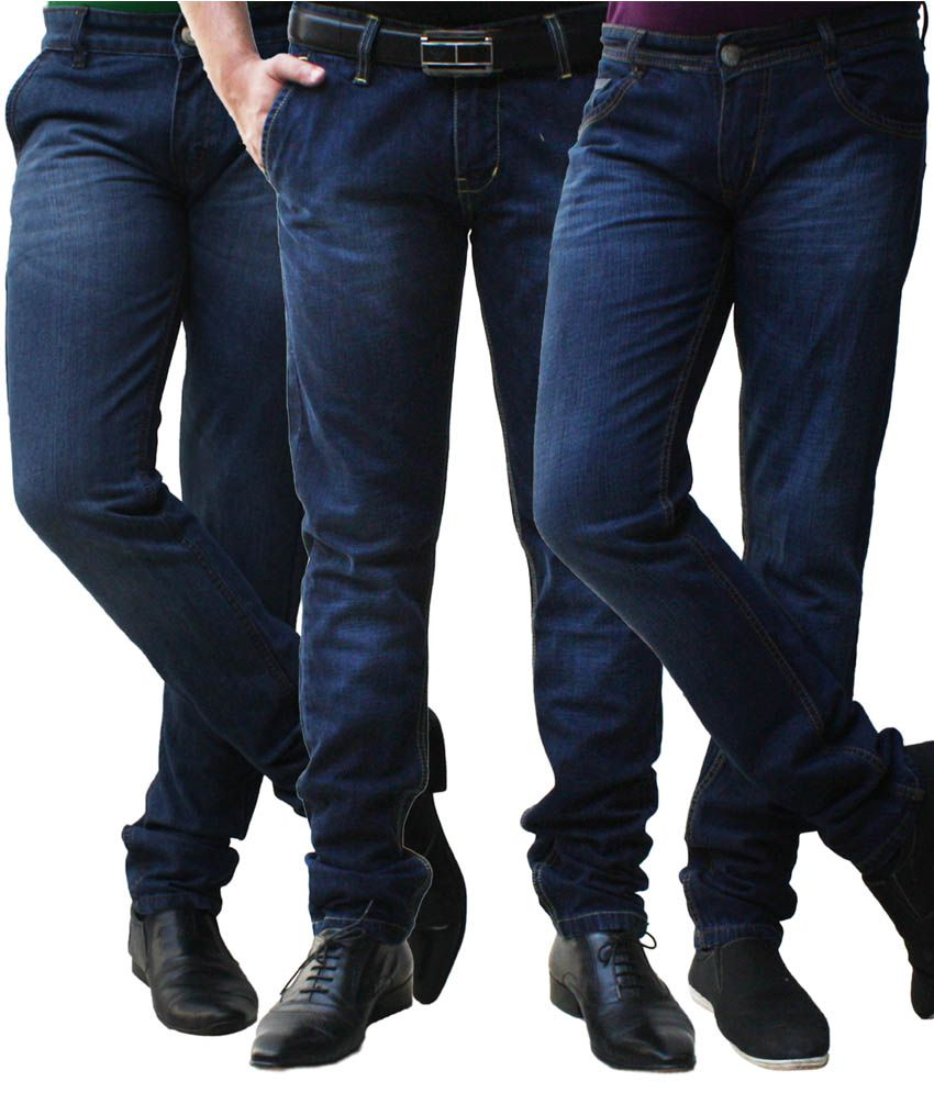 Club Vintage Cotton Blue Slim Fit Jeans - Combo of 3