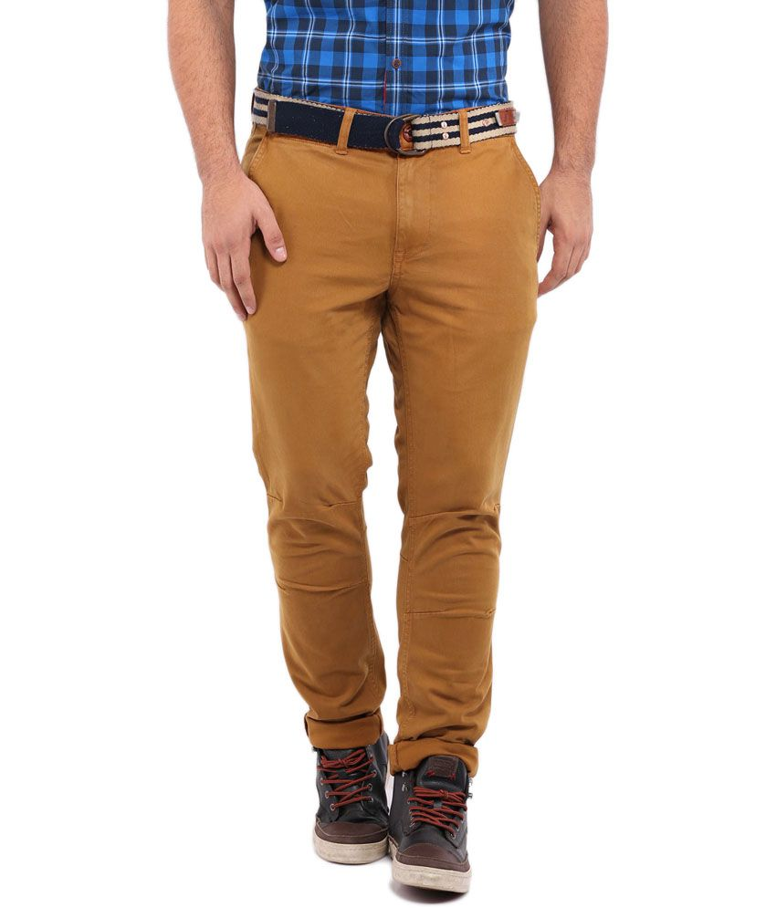 Hara Brown Cotton Slim Fit Casual Chinos