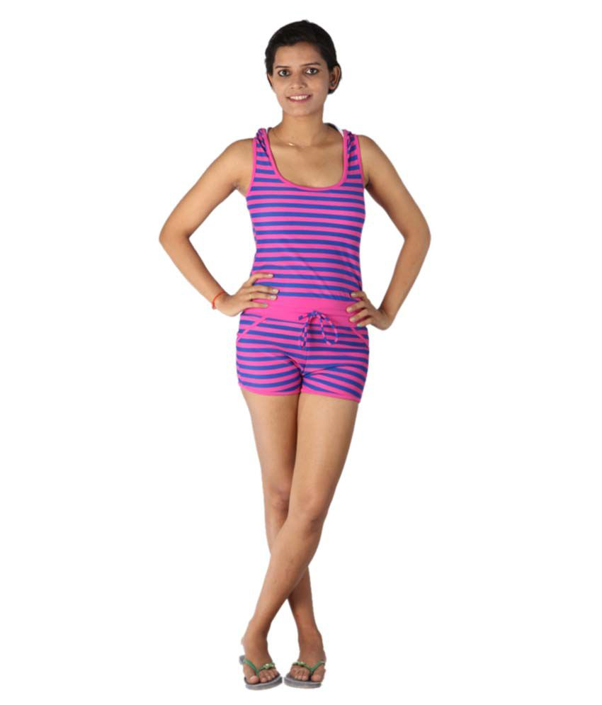 Indraprastha Pink Striped Jumpsuit Style Swimsuit/ Swimming Costume