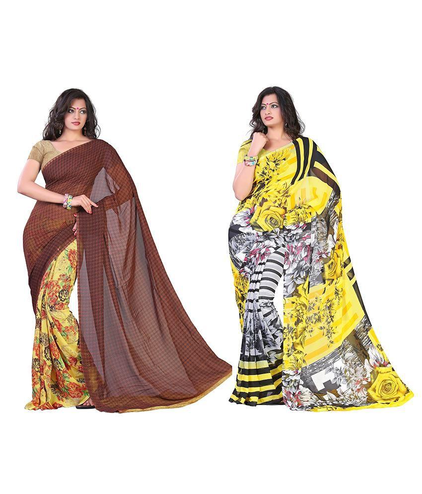 Kia Fashions Faux Georgette Saree Pack Of 2
